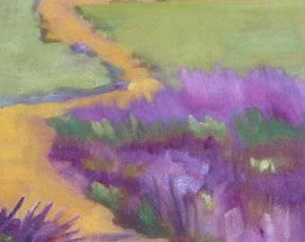 Landscape Oil Painting// Lavender Fields 12 x 24 Canvas