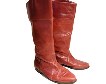 80s LL BEAN Boots size 8, Tall Boots, Red Brown Leather Boots, Riding Boots, Fleece Lined Vintage LL Bean Boots