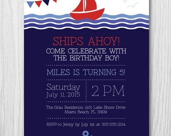 Sail Boat Birthday Party Invitation, Nautical Invitation, Ocean Invitation, Sea Invitation, Digital File, DIY Printable, Paper Squid, 159C