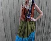 Tie Dye Dress // 90s Clothing // Boho Maxi Dress // Sleeveless // Festival Clothing // Ombre // Tribal