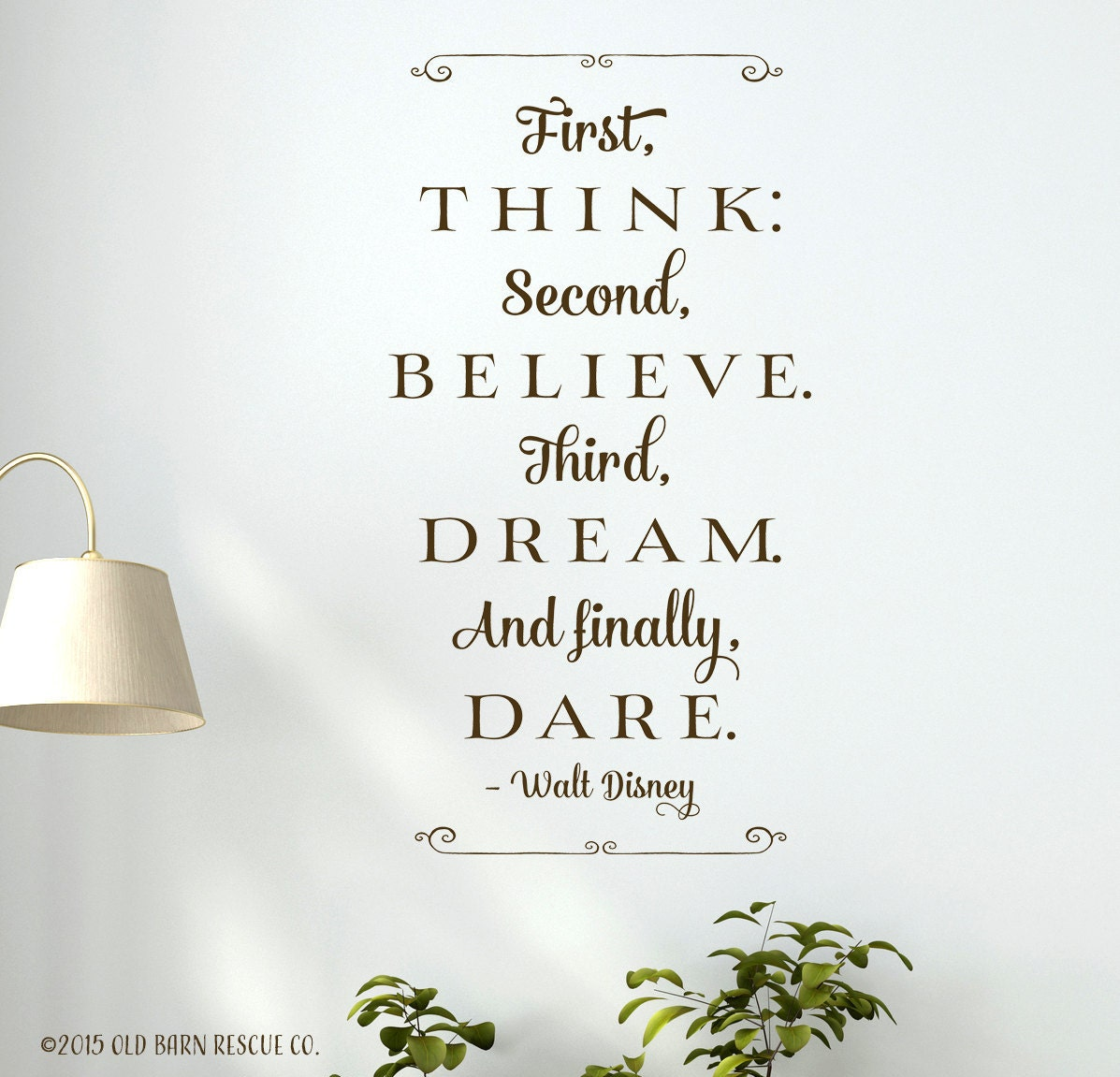 first think second believe third dream disney quote vinyl zoom