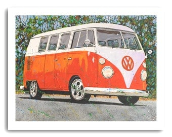 "Volkswagen Art Hippie VW Bus ""VW Orange Crush"" Print Signed and Numbered"