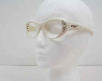Vintage 50s Glasses Frames Cream Plastic Cateye Gold Rhinestones Sunglasses