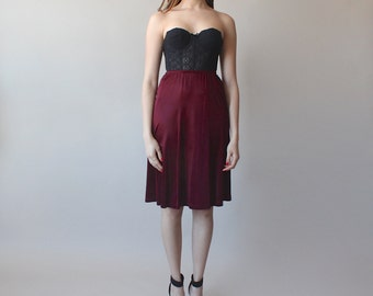 wine slinky skirt / slip skirt / 1990s / small - medium