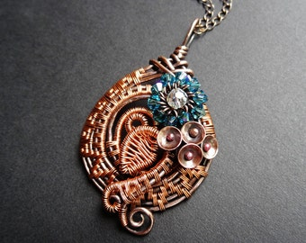 POSIE Copper Crystal Woven Wire Wrapped Flower Pendant Necklace