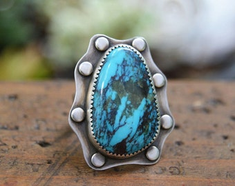 Boho Turquoise Ring. Big Turquoise Sterling Silver Ring. Southwestern Ring.  Unique Jewelry. Size 7 1/4