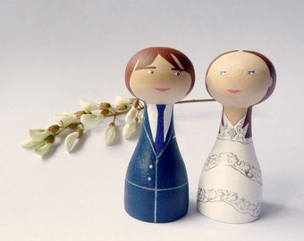 Personalized wedding cake topper Wooden peg doll art hand painted groom bride ivory grey FREE SHIPPING