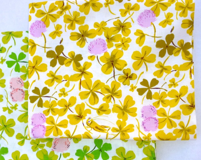 Briar Rose Cotton Fabric by Heather Ross, Cricket Clover Fat quarter set of 2
