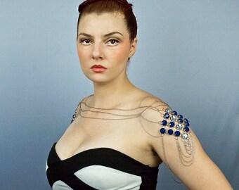 Blue Shoulder Body Chain Necklace Rhinestone Wedding Prom Jewelry Music Festival Gear