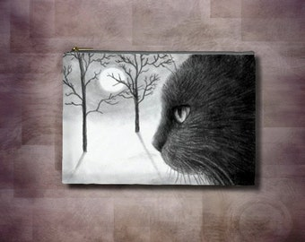 Cosmetic Bag Pouch Accessory for Purse black Cat 590 painting by Lucie Dumas
