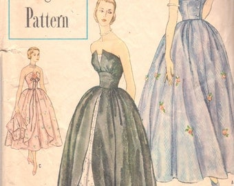 Simplicity 8346 1950s Junior Misses Strapless Evening Dress Gown and With Jacket Pattern Womens Vintage Sewing Pattern Size 13 Bust 31