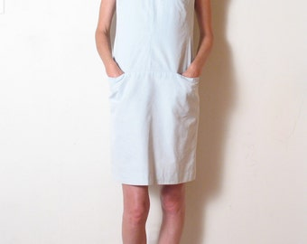 SILK & COTTON minimal ice blue shift dress, xs - s
