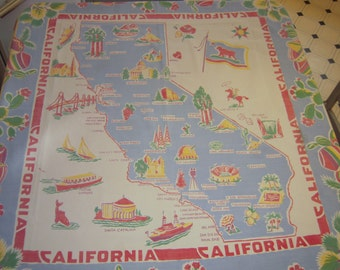 Vintage Souvenir Tablecloth Blue Skies & Sunny California in the 1940s