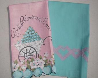Vintage Towel Pair Aqua & Pink Hearts Apple Blossom Time