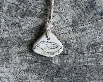 Healing Shard Necklace - Tiny Beach Pottery Bird