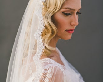 Cap Veil, Eyelash Fringe Lace Juliet Cap Wedding Veil, Single Layer Mantilla Veil, Fingertip Length Veil, Waltz Lace Veil, Long Veil  #1552