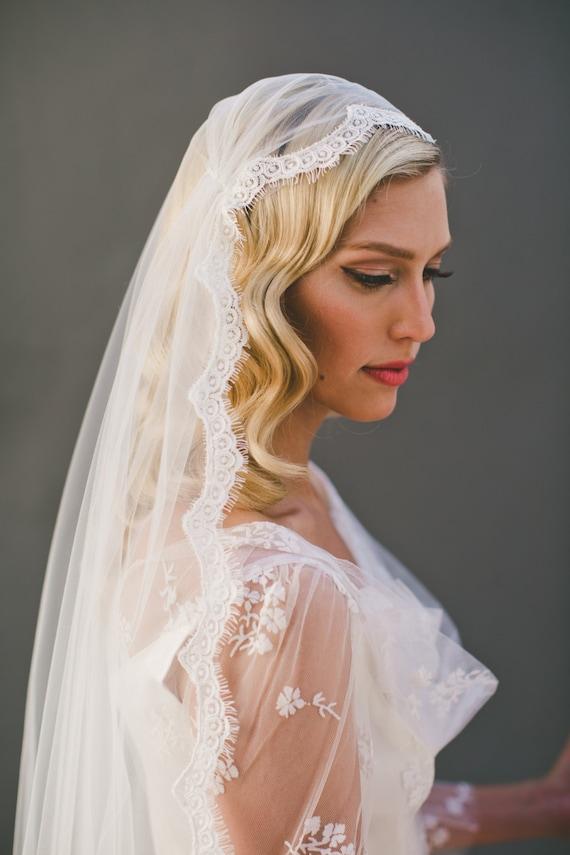 Cap Veil Eyelash Fringe Lace Juliet Wedding Single