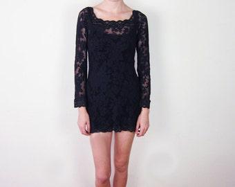 Black Lace Stretch Mini Dress