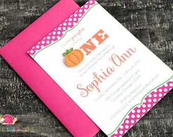 Pumpkin Invitations · A6 FLAT · Fuchsia Pink and Orange · Birthday Party | First Birthday | Polka Dot