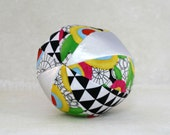 Toy Ball with a Rattle Inside - Magic Garden - Bold Primary Colors - Organic Cotton with Metallic Silver Vegan Leather - Ready to Ship
