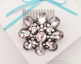 SALE Large Rhinestone Silver Hair Comb
