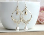 Ivory Gold Moroccan, Boho, Bubbles, Dots, Ivory Pearl Wedding Earrings. Bridesmaids Gift. Bridal Jewelry. Bridal Pearl Jewelry, Gold Wedding