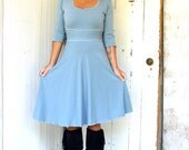 Sweet and Simple 3/4 Sleeve Dress - Organic Fabric - Made to Order - Choose Your Color