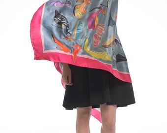 Luxurious Silk Shawl-Crazy Shoes Dancing/ Designer scarf/ Hand painted Silk Satin Scarf. Unique scarf/ Bright Summer Scarf Fashionista scarf