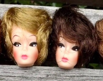 Uneeda Suzette Doll Heads Bubblecut Hair