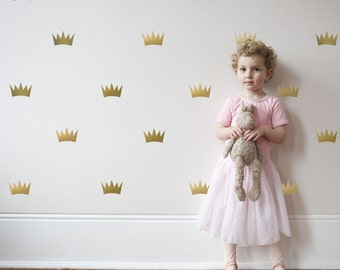 Gold Metallic Princess Crowns Wall Decals, Vinyl Wall Stickers