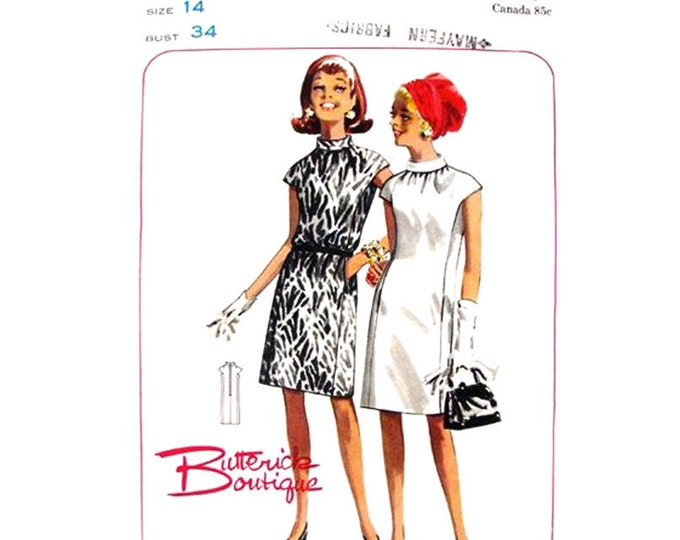 1960s Dress Pattern Shirred Neckline Butterick 4549 Cap Sleeves Vintage Sewing Pattern Size 14