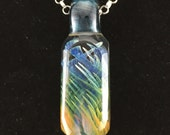 Silver and Gold Fumed Crystal Pendant