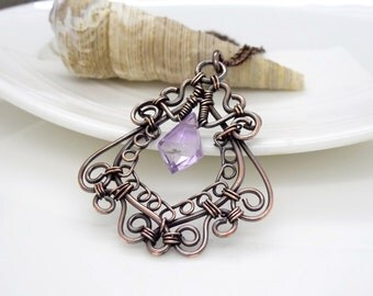 Wire wrapped copper necklace, amethyst copper necklace, purple gemstone pendant, wire wrapped copper jewelry