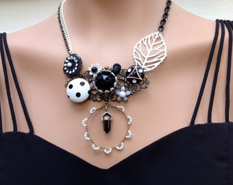 black and white garden upcycled assemblage necklace - 636