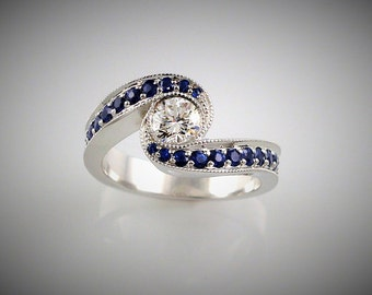 DIAMOND and SAPPHIRES ring - 14k White gold -