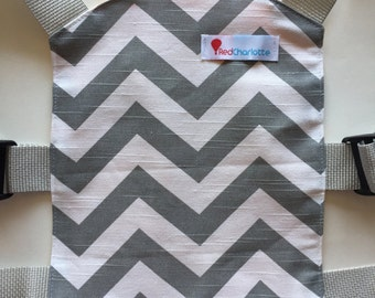 Doll Carrier - Mini Baby Carrier - Red Charlotte Doll Carrier in Grey Chevron-Perfect Match for Tula