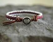 Pomegranate Sweet Heart  Knot Leather Wrap Bracelet
