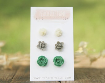 Small Grey Lily Flower Earrings << Green Rose Stud Earrings >> Ivory Rose Earrings << Bridesmaid Gift >> Wedding Summer Jewelry