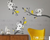 Removable Grey Koala Bear wall decal on branches Animal , Baby Wall Decals -  wall sticker - wall decor