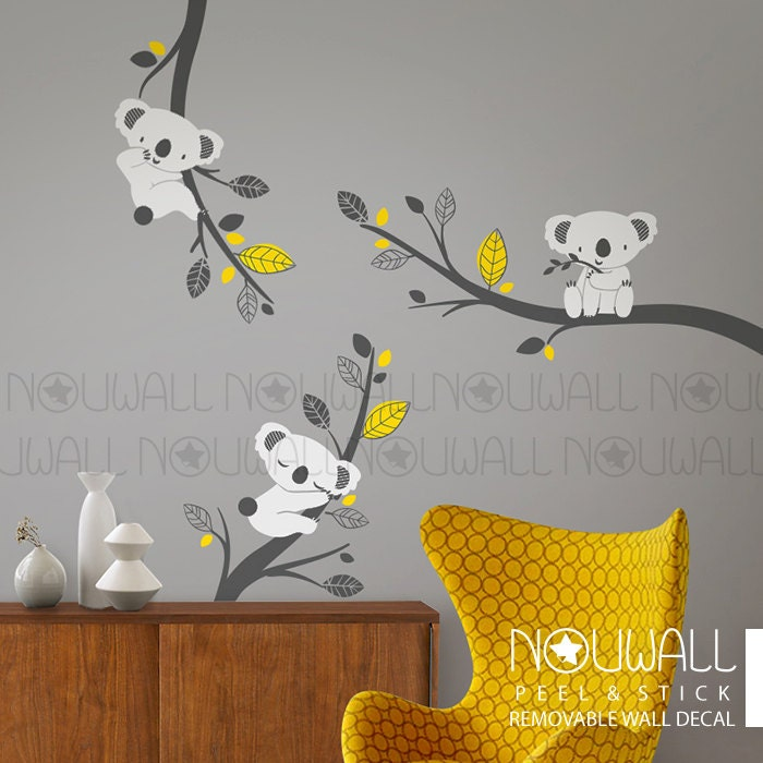 Removable Grey Koala Bear Wall Decal On Branches Animal Baby