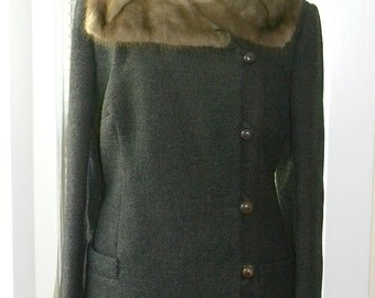 Vintage 60s Coat - Mod Miss - Charcoal Grey Jacket w/ Mink Fur Collar - Asymmetrical Buttons - Made in England - s/m