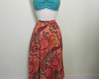Vintage Skirt Orange and Pink Exotic Floral Print Skirt with Sequins L XL - on sale