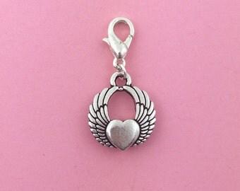 Winged heart clip on charm, Wing heart jewelry, Fairy tale jewelry, Princess charm, bracelet charm, zip pull, fashion jewellery, UK
