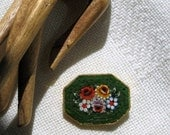 Micro Mosaic Brooch Pin Signed Italy Green Red Glass Vintage 30s Costume Jewelry