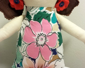 Handmade Brown Hair Fabric Keepsake Lollipop Doll