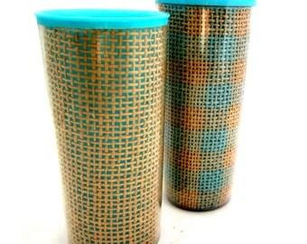 2 Raffiaware Woven Rattan Thermal Plastic Tumblers