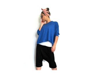 Slouchy Crop Top- Stylish oversize top, Loose jersey top with elbow length sleeves