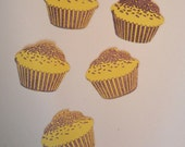 24 Hand Stamped Pale Yellow Cupcake Die Cuts