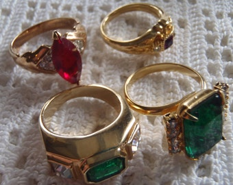 Vintage Rhinestone Rings 4 Pc.