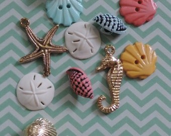 Beach Themed Buttons Packaged Assortment Beach Treasures W4246 by Buttons Galore Includes Seashell, Starfish and Seahorse Buttons